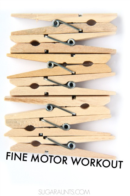 Fine motor pinch grips and exercises to work on them using clothes pins, from an Occupational Therapist.