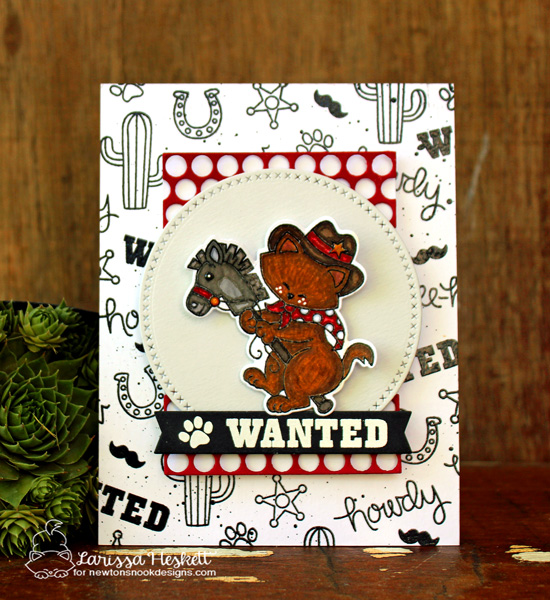Wanted Cowboy cat card by Larissa Heskett | Newton Rides West | Cat Cowboy Western Stamp Set by Newton's Nook Designs #newtonsnook