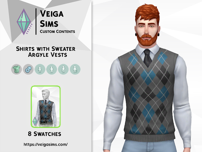 Shirts with Sweater Argyle Vests