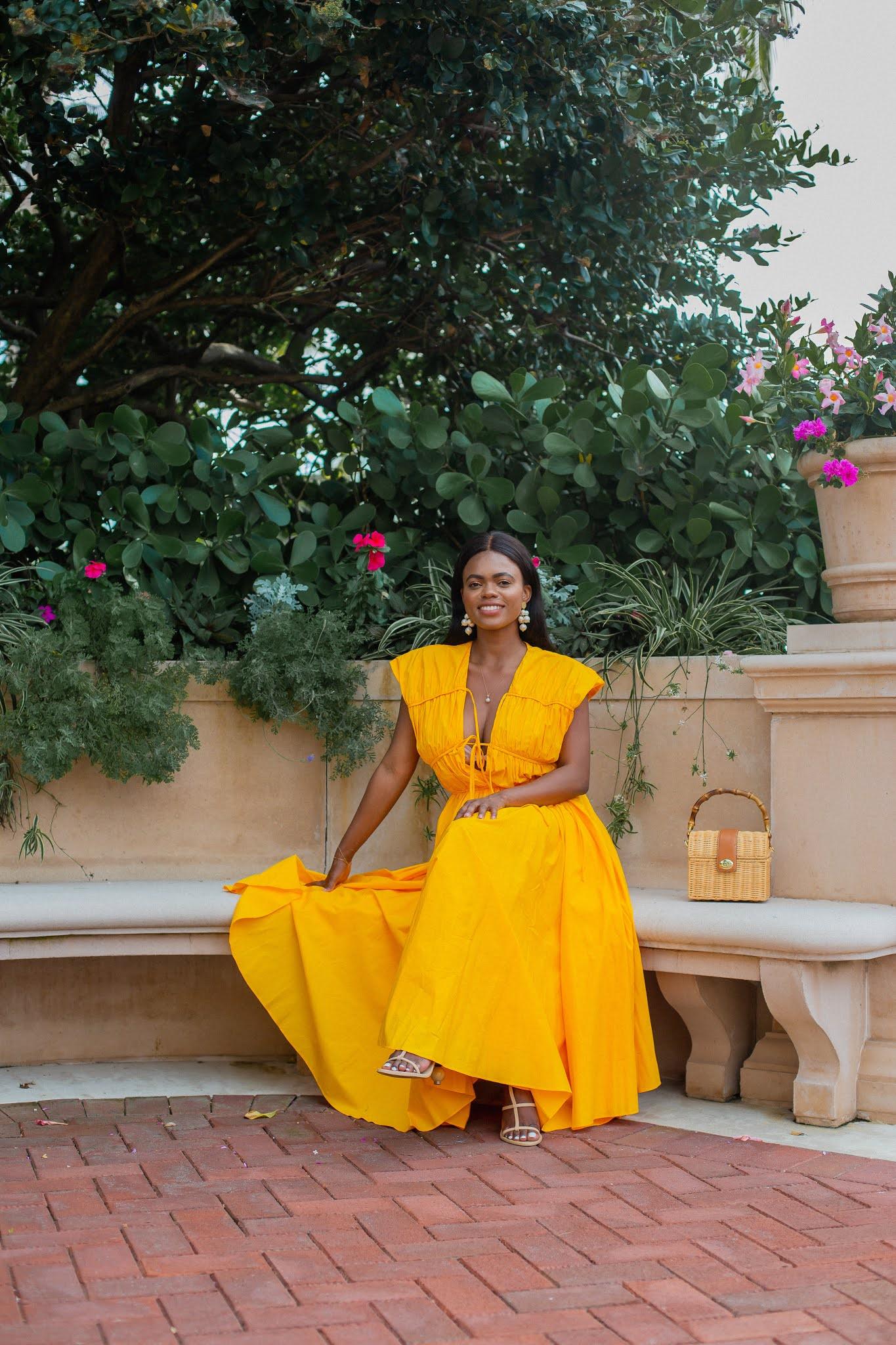 TOVE Ceres Flared Midi Dress Yellow