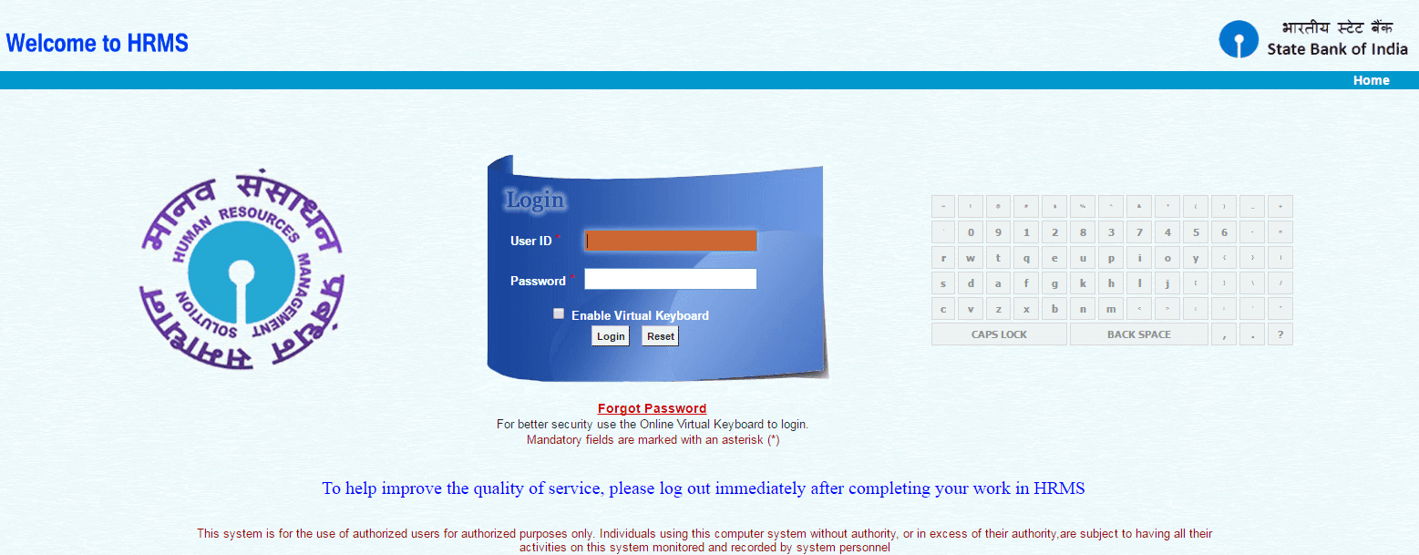 bank of india hrms login page