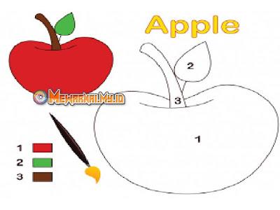 cara mewarnai buah apel