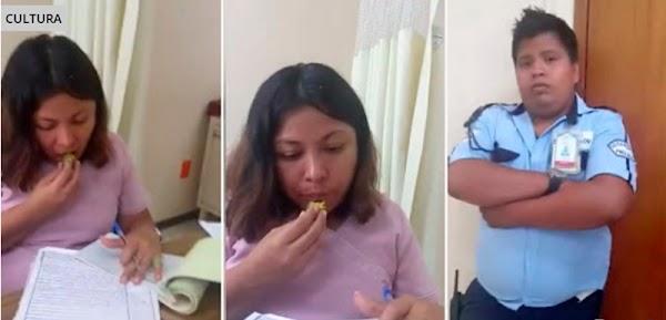 Mujer graba y exhiben en video a Doctora del IMSS que humilla e ignora a personas enfermas, la doctora prefiere comer ciruela.