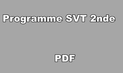 Programme SVT Seconde PDF
