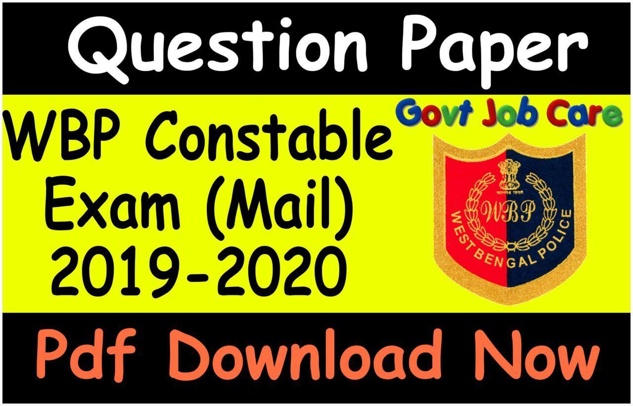 Wbp Mains Question Paper