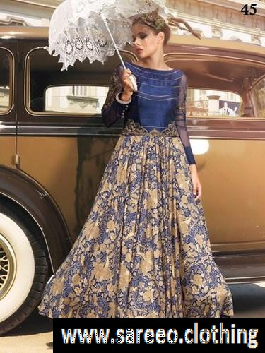 Delightful Royal Blue & Multi Raw Silk Heavy Digital Printed Long Gown