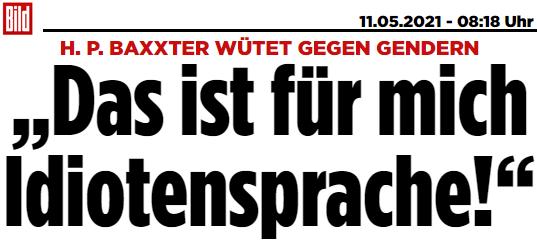 """H. P. BAXXTER WÜTET GEGEN GENDERN: """"Das ist für mich Idiotensprache!"""""""