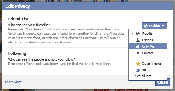 hide facebook friends timeline or mutual friends 2