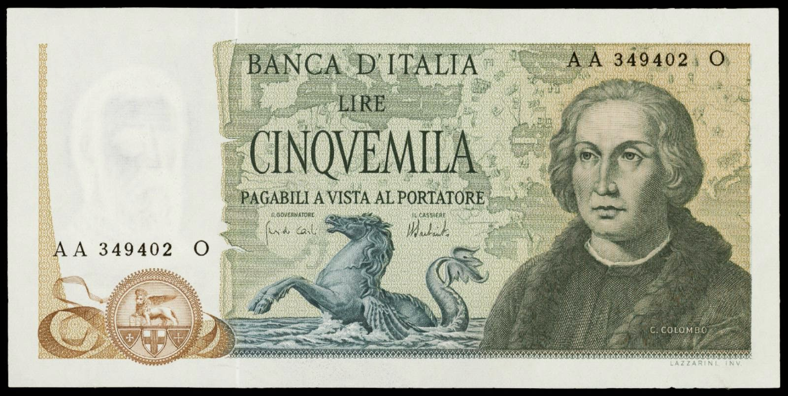 Italy 5000 Lire banknote Christopher Columbus