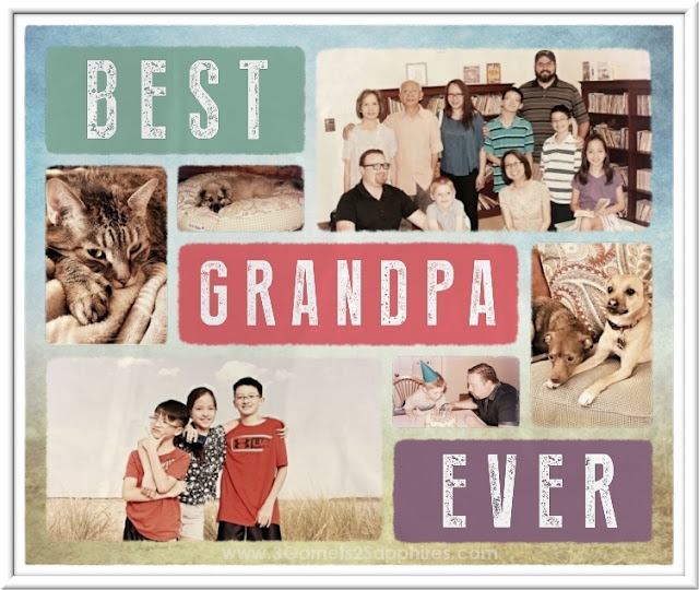 Best Grandpa Ever Photo Blanket | 3 Garnets & 2 Sapphires