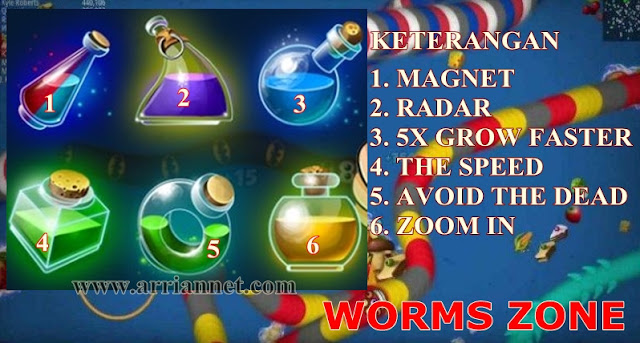 Fungsi item atau cairan di game cacing worms zone