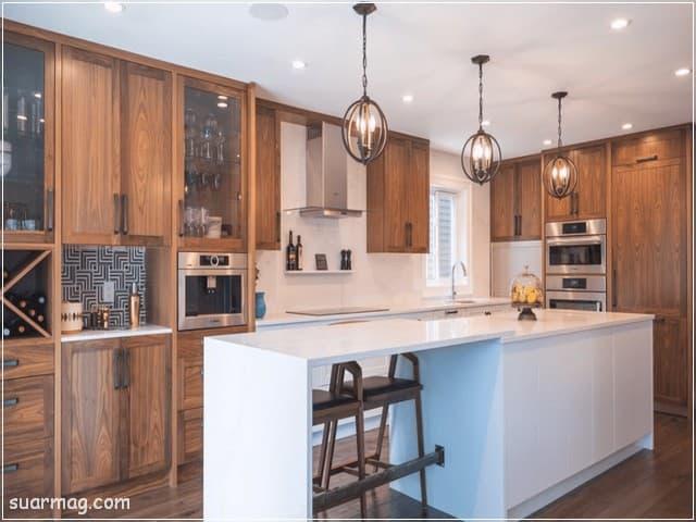 اشكال مطابخ خشب 3   wood kitchens shapes 3