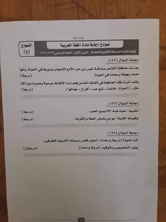 نموذج اجابة امتحان اللغة العربية للثانوية العامة 2020 بتوزيع الدرجات 12