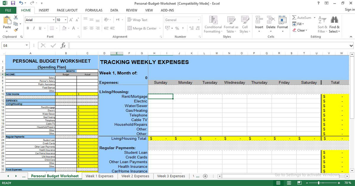 Excel sheet to keep track of expenses