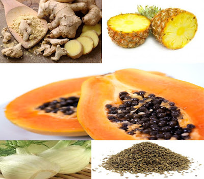 Pineapple and papaya are a tropical fruits that contains the enzyme that effectively regulate digestive processes and facilitate digestion. Papaya contains a natural enzyme, which splits emergency food and prevents the release of gases in the stomach.