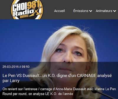 Désintox-Décryptage d'une radio québécoise: Le Pen VS Dussault