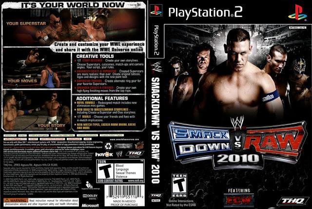 Descargar WWE Smackdown vs Raw 2010 NTSC-PAL ps2 iso (también acortado WWE SvR 2010) es un videojuego de lucha libre profesionaldesarrollado por Yuke's y distribuido por THQ para los sistemas PlayStation 2 (PS2), PlayStation 3 (PS3),PlayStation Portable (PSP), Wii, Nintendo DS y Xbox 360. Es el undécimo videojuego de la serie WWE SmackDown vs. Raw. Fue lanzado el 20 de octubre de 2009 en América del Norte, el 22 de octubre de 2009 en Australia y el 23 de octubre de 2009 en Europa.5 11 12 13 TOSE supervisó el desarrollo de la versión para Nintendo DS, el cual fue el último juego de la serie en lanzarse para un portátil.