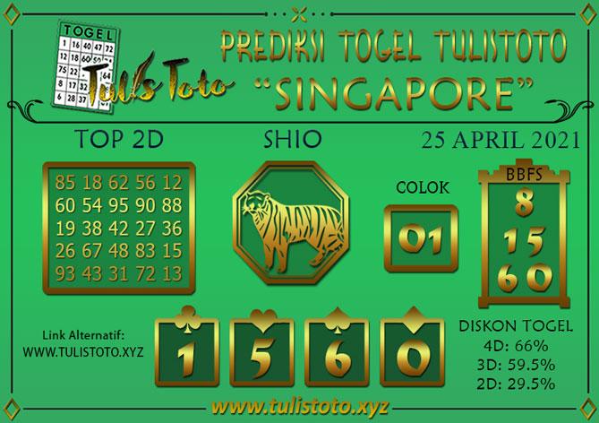 Prediksi Togel SINGAPORE TULISTOTO 25 APRIL 2021