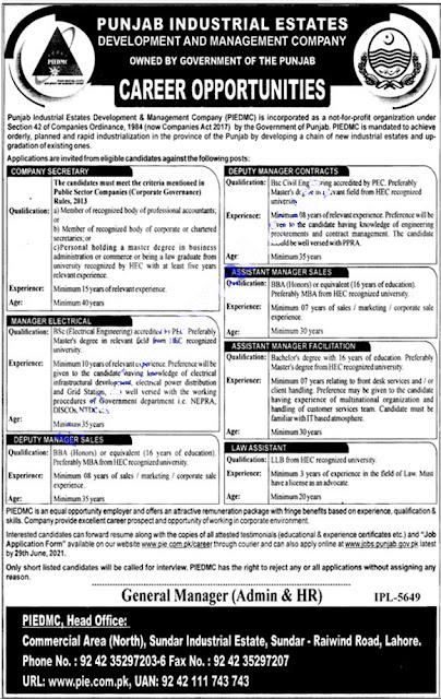 Punjab Industrial Estates Development and Management Company Jobs 2021