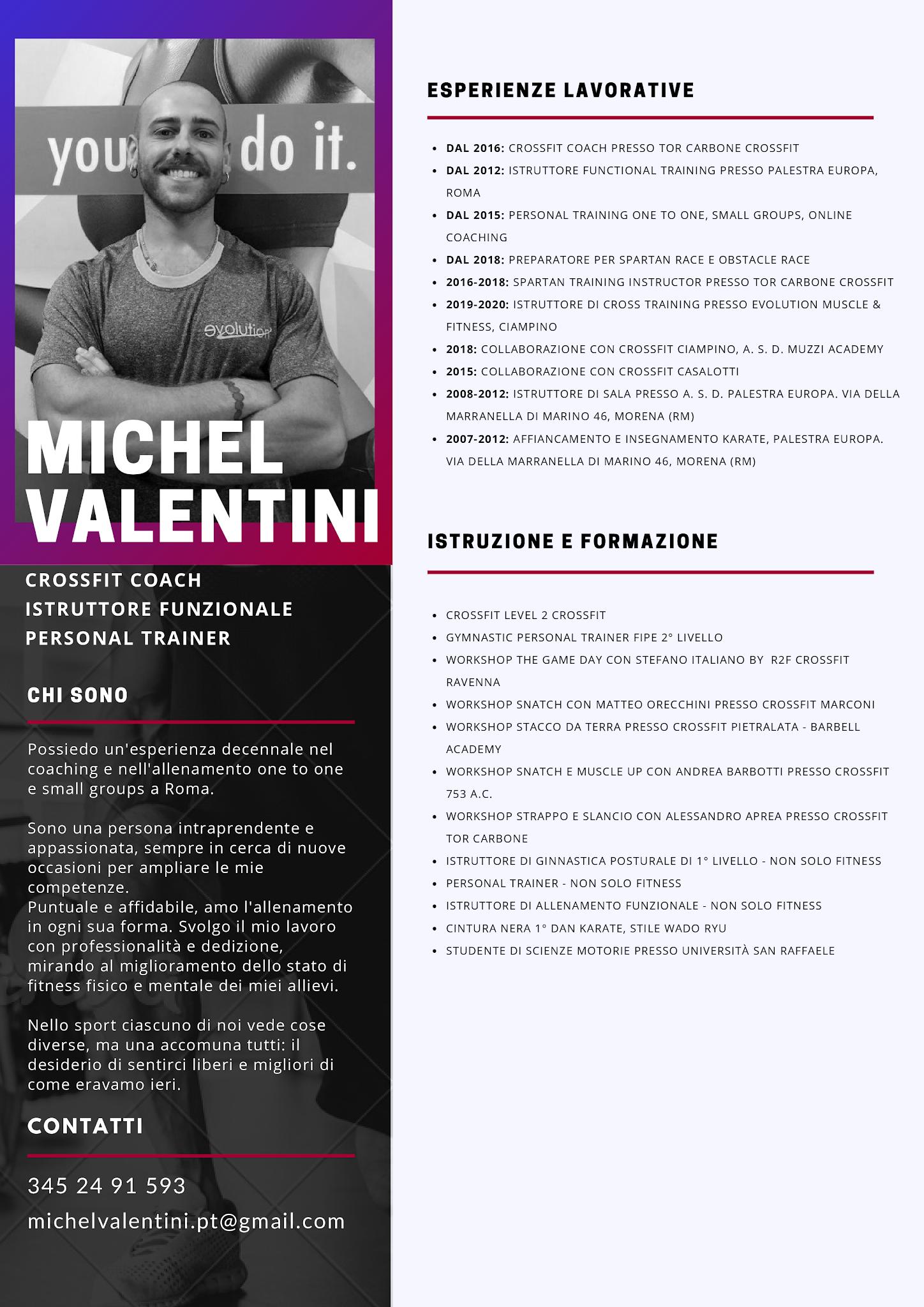 Michel Valentini CrossFit Coach, Istruttore funzionale e Personal Trainer online e a domicilio a Roma
