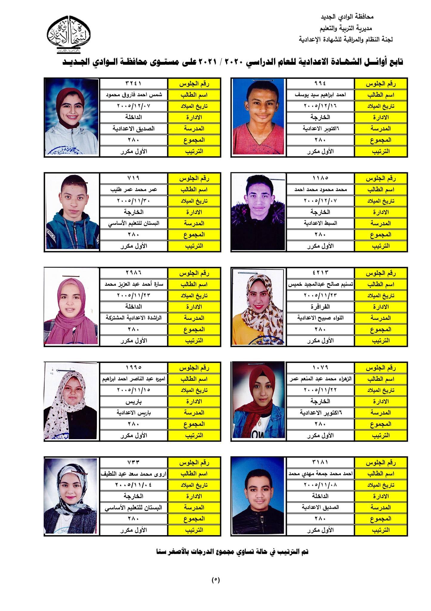 نتيجة الشهادة الإعدادية 2021 محافظة الوادي الجديد  9