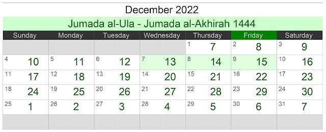 Kalender Hijriah Bulan Desember 2022 Lengkap Jadwal Puasa