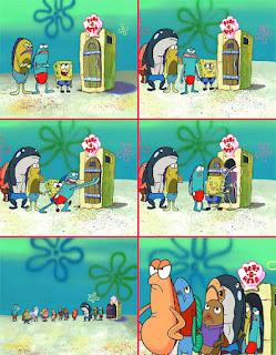Polosan meme spongebob dan patrick 109 - warga bikini bottom antri ke wc umum