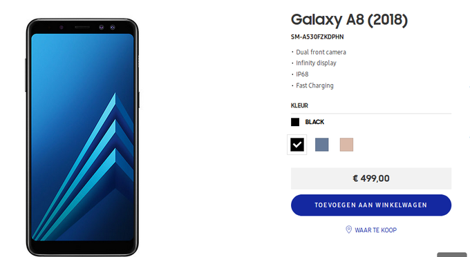 Samsung Galaxy A8 (2018) is available for sale in Europe