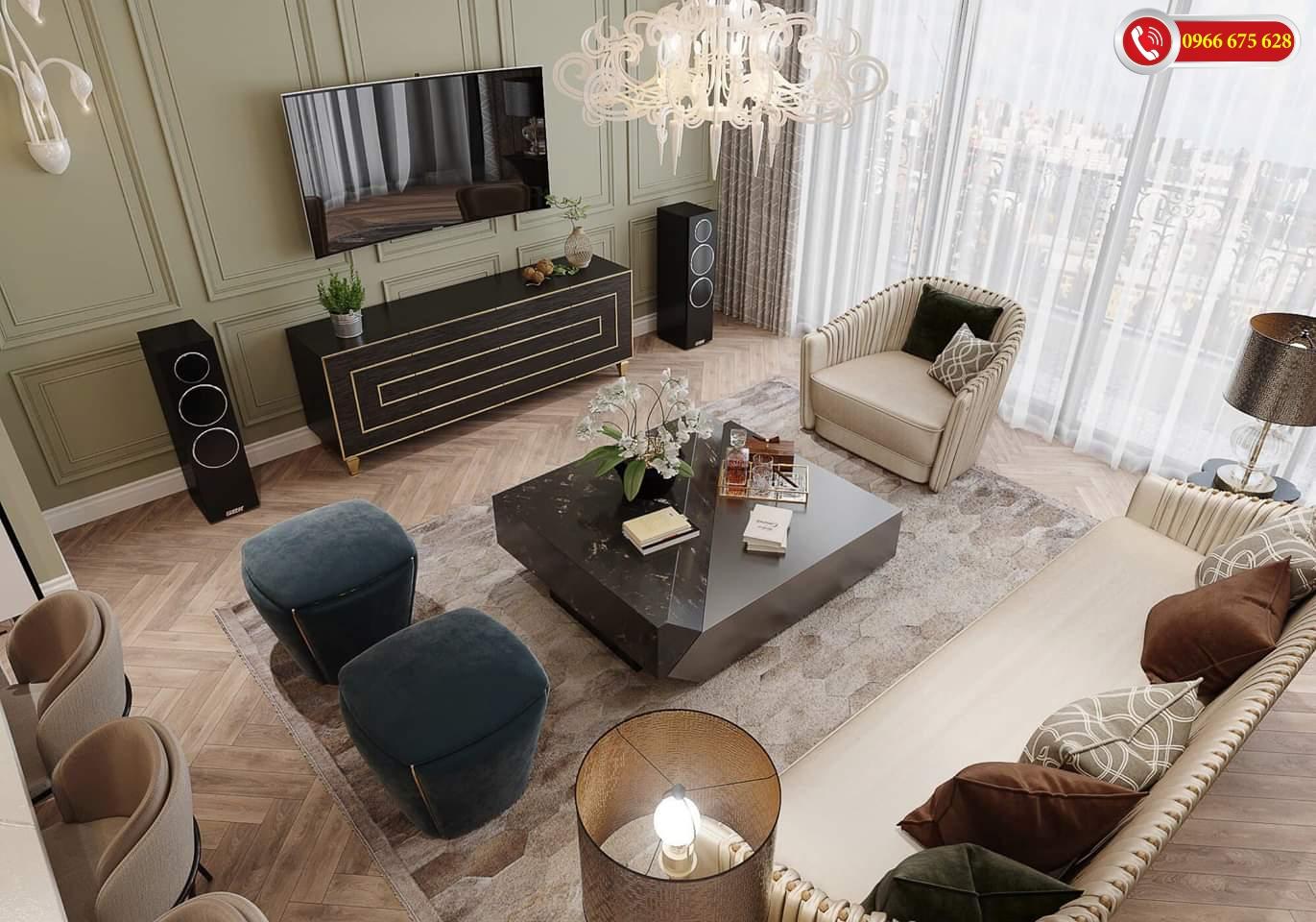 Phòng khách sang chảnh của Amber Riverside
