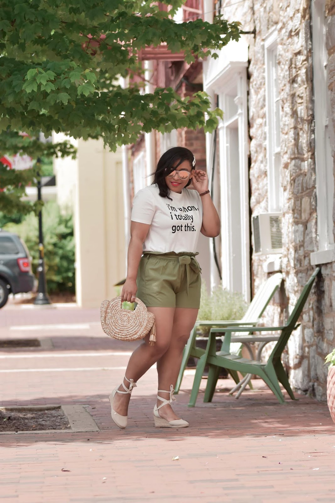 mom blogger, motherhhod, shein, shein outfits, graphic tee, fashionable mom, easy mom looks, summer outfit ideas, paperbag shorts.