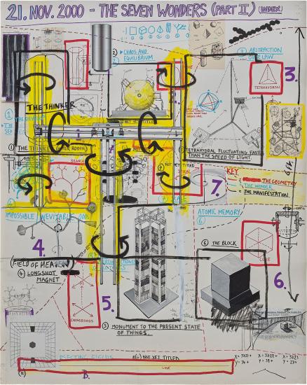 drawing Keith Tyson, studio wall drawings