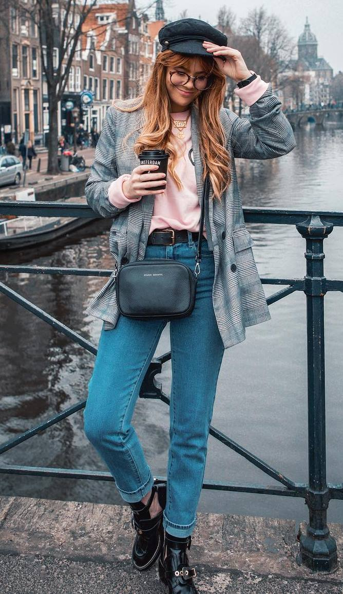 casual style perfection / jeans + boots + plaid blazer + pink sweatshirt + crossbody bag + hat