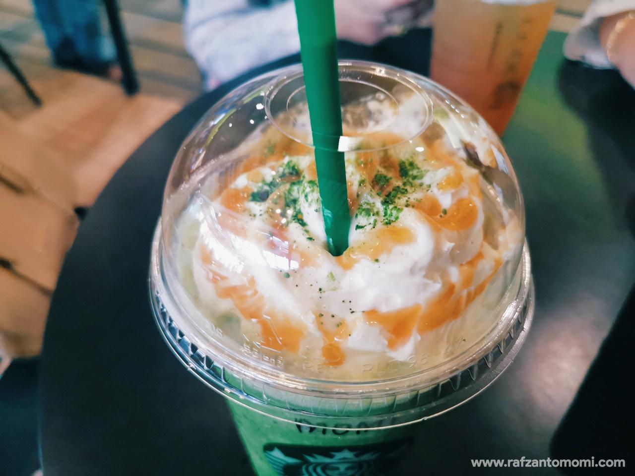 Starbucks Caramel Pure Matcha Choc Chip Frappuccino