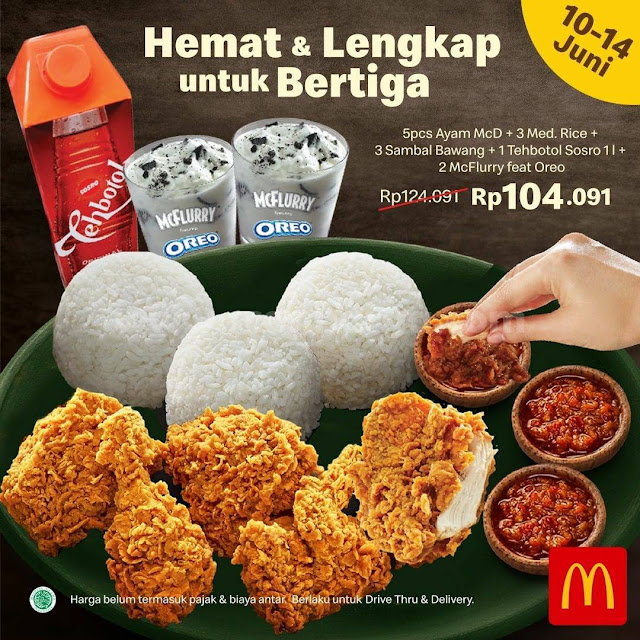 Promo McD Hemat & Lengkap Bertiga + Paket Pamer 5 Rp 104Rb