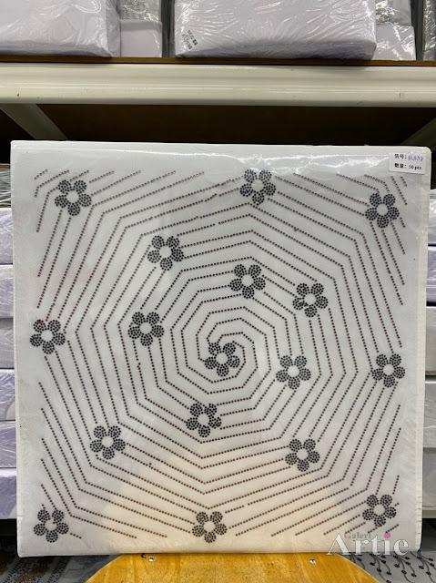 Hotfix stickers dmc rhinestone aplikasi tudung bawal fabrik pakaian sarang labah-labah dgn bunga silver