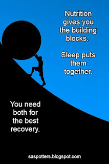Quote about the importance of nutrition and sleep for recovery