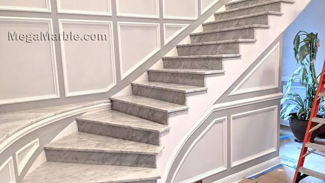 White carrara marble stairs