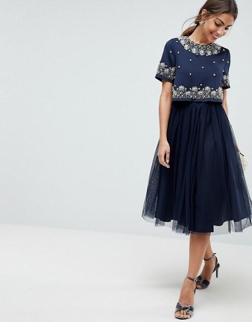 Asos - Vestito midi in tulle con top corto decorato | Outfit Matrimonio Invernale