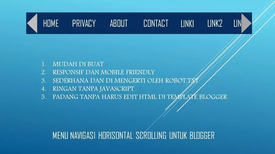 horizontal scrollable menu