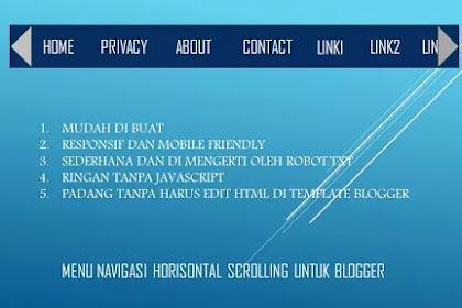 Horizontal scrolling menu navigasi paling simpel dan paling responsif untuk Blogger