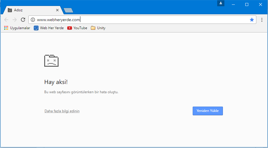 Google Chrome Hay Aksi Hatası Çözümü