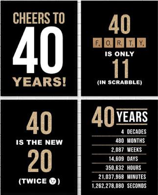 40 birthday printables black and white