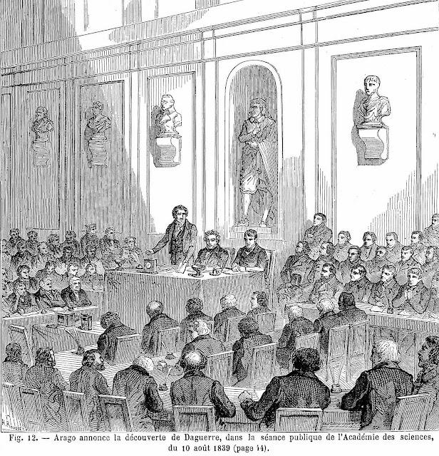 an announcement of the daguerreotype at l'Acadamie des Sciences, a 1839 illustration