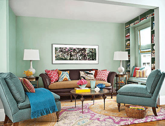 Ide 15: Dominan biru telur asin disetiap dekorasi serta desain dapat memberikan rasa nyaman dan ketenangan di ruangan