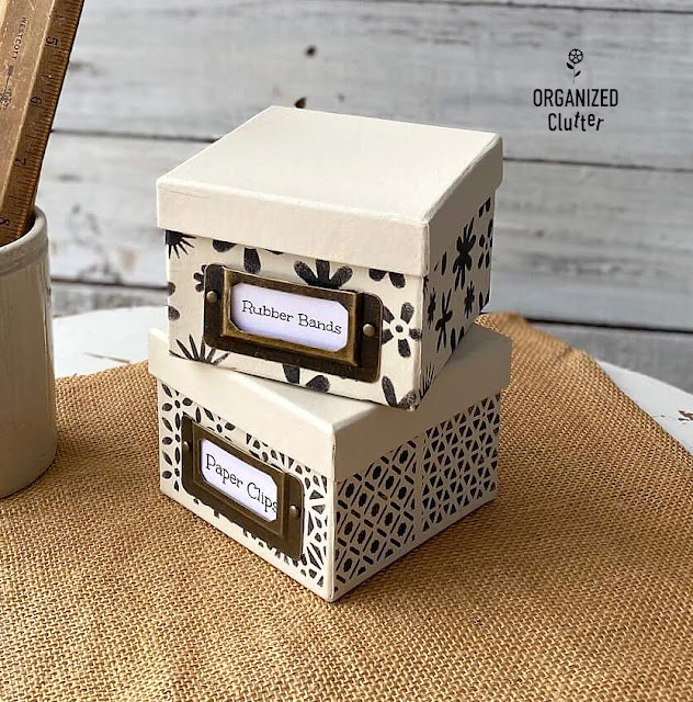 Dollar Tree Stenciled Desktop Boxes