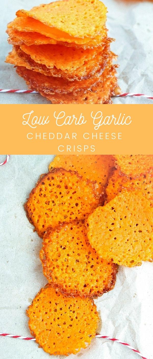 Low Carb Garlic Cheddar Cheese Crisps