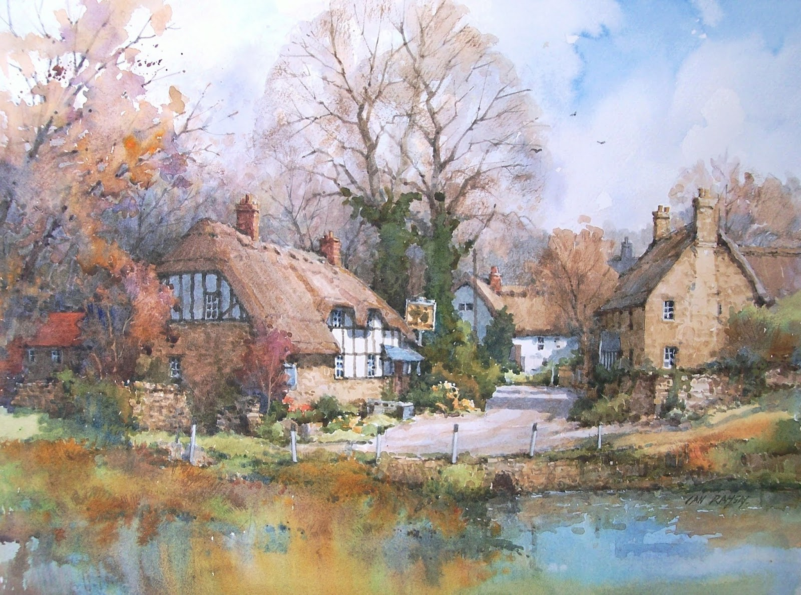 Pub and village pond, Gloucestershire, England