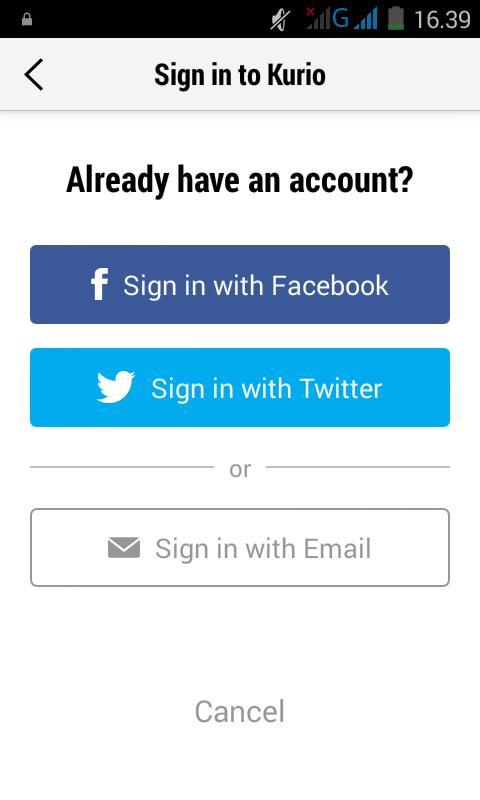 halaman sign in aplikasi kurio