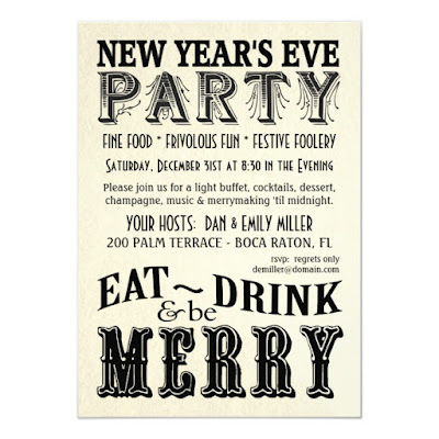 Vintage Eat Drink Be Merry New Years Eve Party Invitation