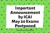 ICAI POSTPONED CA May 2020 exams to June 2020 Exams